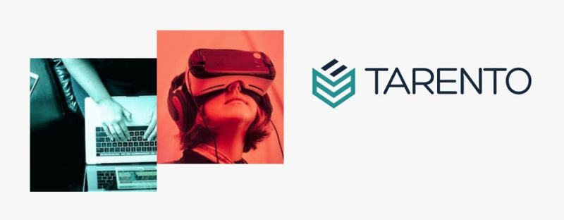 bild på tjej med vr-glasögon och bild på dator tillsammans med Tarentos logotyp