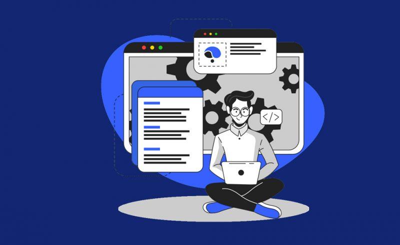 tecknad bild med kille som sitter och jobbar med datorn i knät